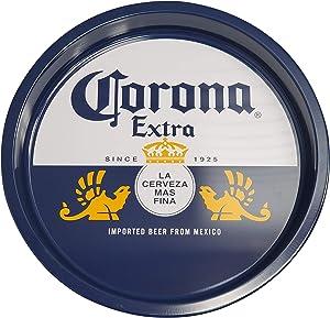 The Tin Box Company Corona Large Round Beverage Tray, Blue and White