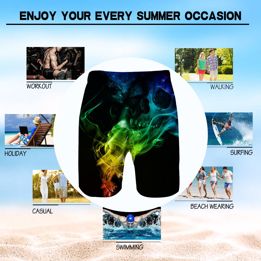 Alistyle Mens Boys Medium Length 3D Print Smoke Graphic Summer Beach Shorts Surfing Trunks by Alistyle (Image #6)