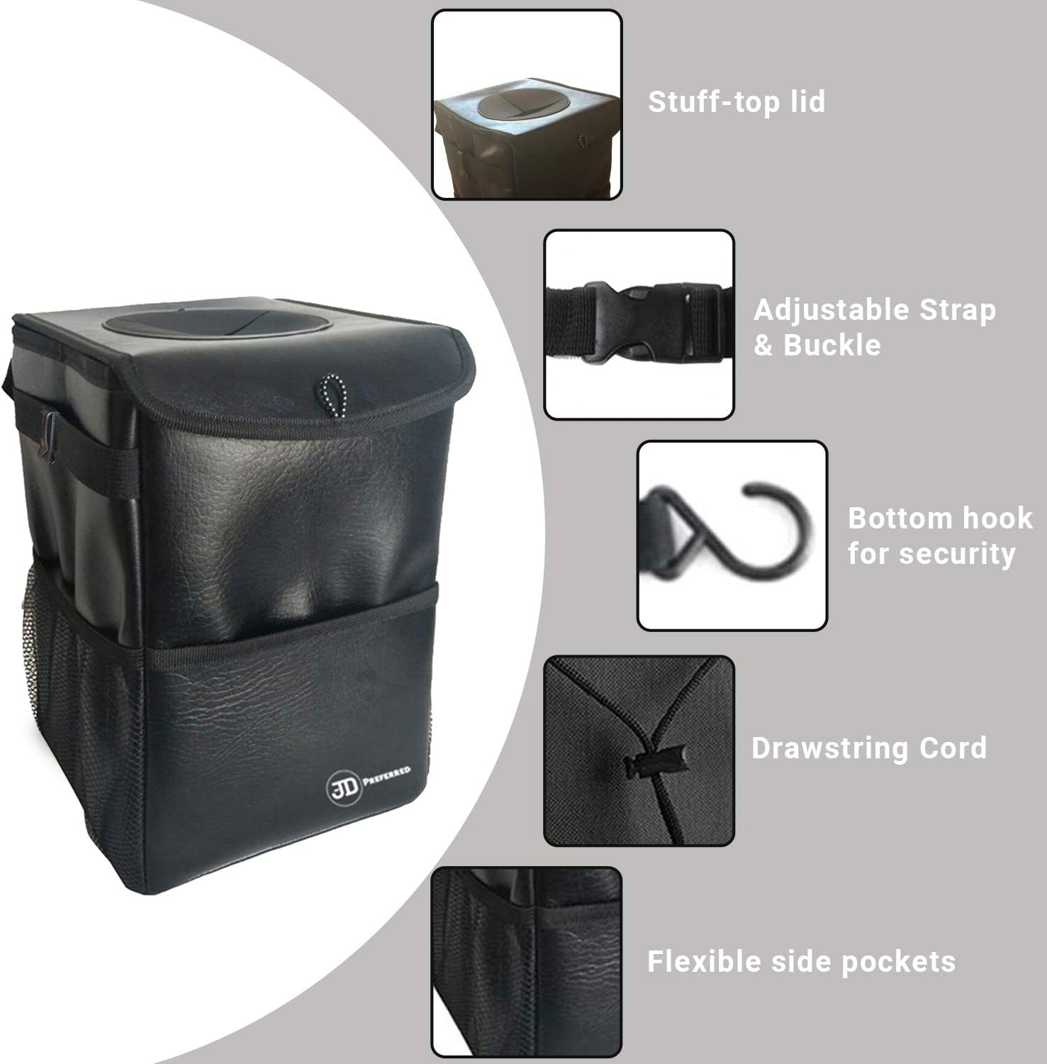 Portable Trash Bin-Best for Vehicles RV Odor Free JD Preferred Boat Trash Can with Lid-Premium Quality Hanging Car Garbage Bag with Storage Pockets-100/% Leak Proof Boats