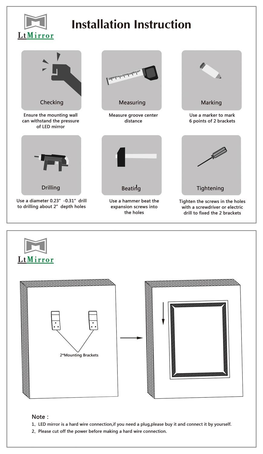 Bathroom Mirror with Lights, Modern LED Mirrors for Wall with Defogger + UL Listed + IP44 Waterproof + 6000K Cool White + CRI>85 + Horizontal or Vertical Installation + Ultra-Thin (27''X 35'') by LtMirror (Image #7)
