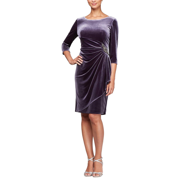 Amethyst Alex Evenings Womens Velvet Short Dress W Hip Detail (Petite and Regular Sizes)
