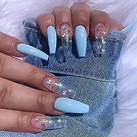 Eollan Press on Nails Exrta Long Coffin Fake Nails Acrylic False Nials Tips for Women 24Pcs (blue)