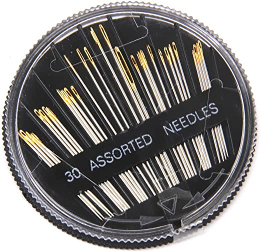 CJESLNA 30pcs Assorted Hand Sewing Needles Embroidery Mending Craft Quilt Sew Case