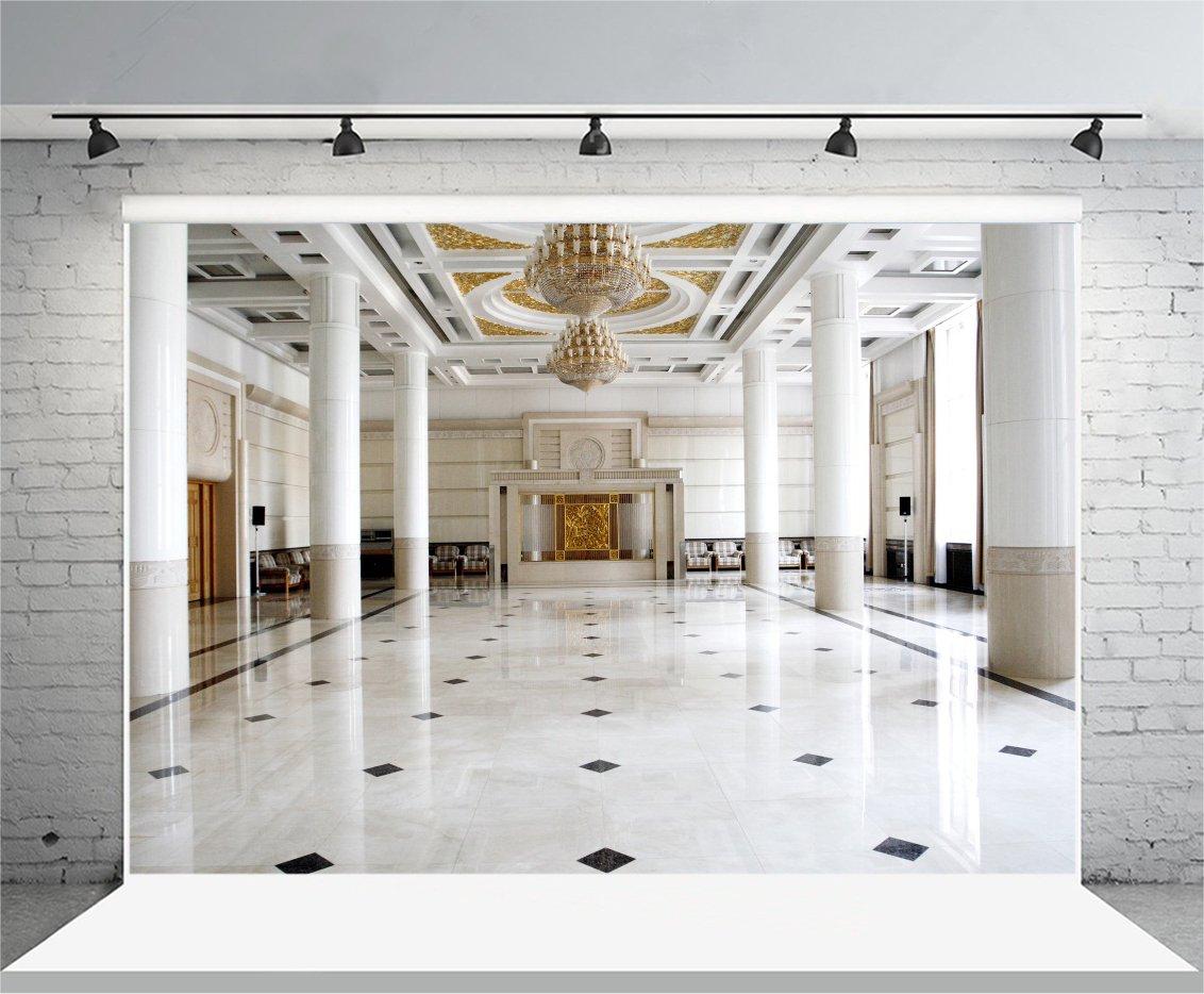 OFILA Grand Hall Backdrop 8x6.5ft Elegant Droplights Modern Office Lobby  Interview Business Center Building Corridor Marble Floor Pillars ...