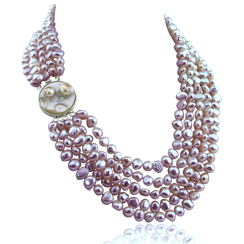 16-22 inch-7-8mm, 5 Row Baroque Freshwater Cultured Pearl Necklace Mother of Pearl metal clasp (Lavender)