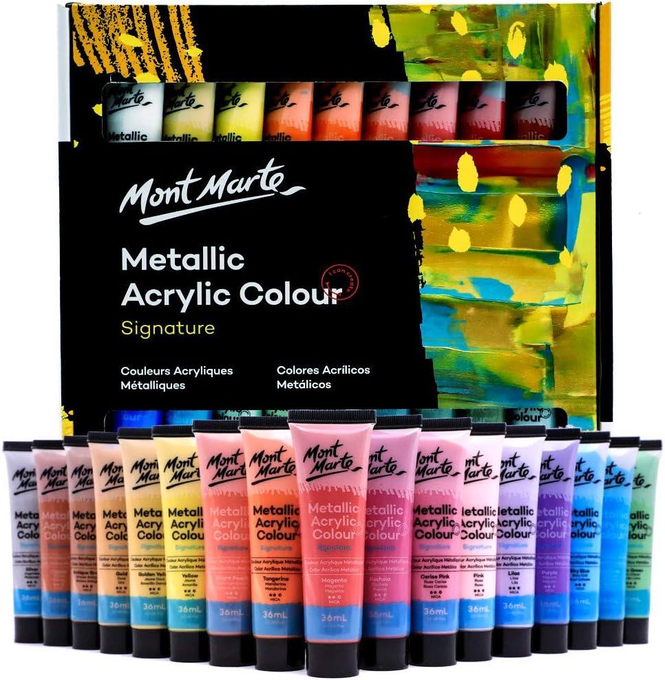 Mont Marte Premium Metallic Acrylic Paint Set, 36 x 1.02oz (36ml) Tubes, 36 Colors, Suitable for Most Surfaces Including Canvas, Card, Paper and Wood