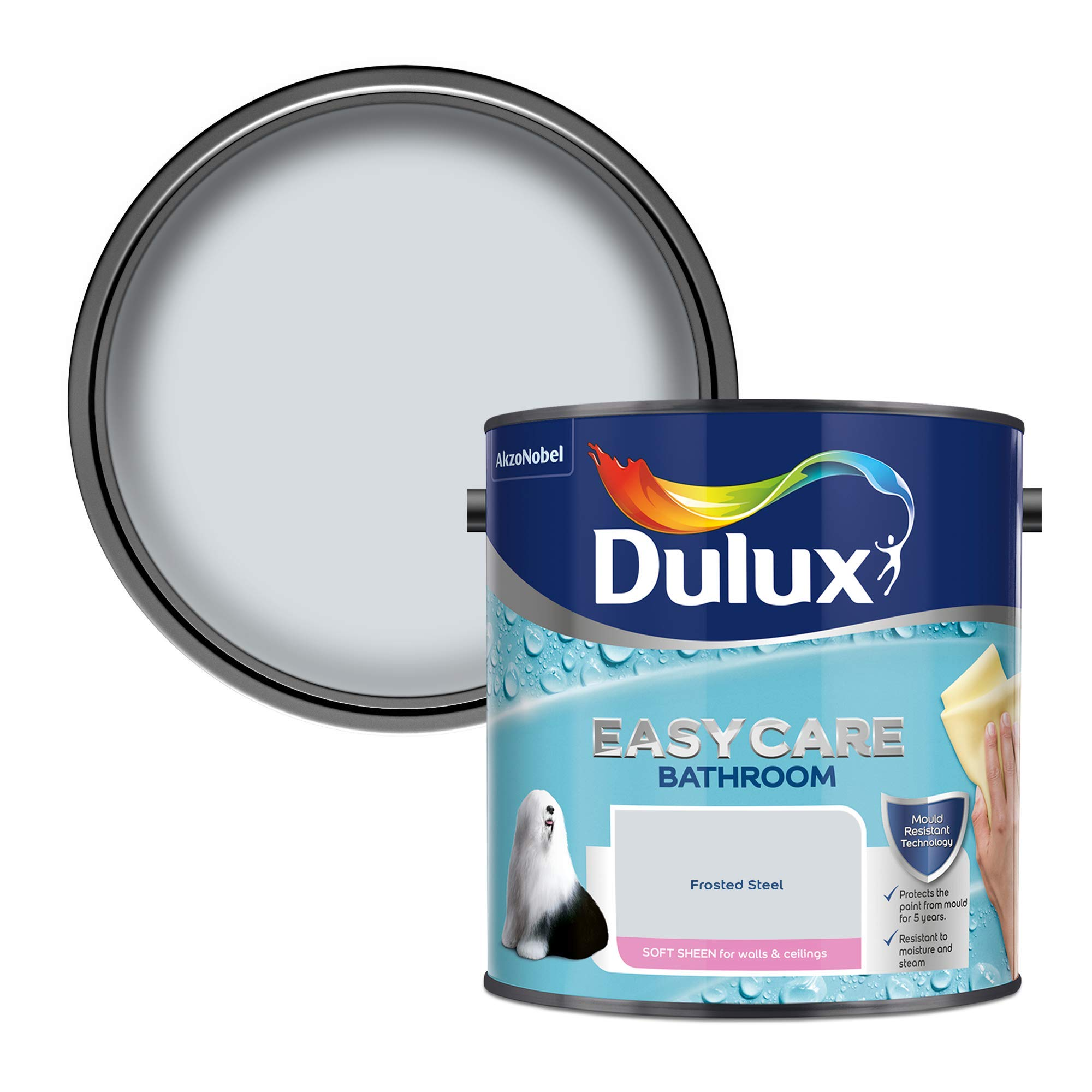 Dulux 500001 Easycare Bathroom Soft Sheen Emulsion Paint For Walls And Ceilings - Frosted Steel 2. 5 Litres