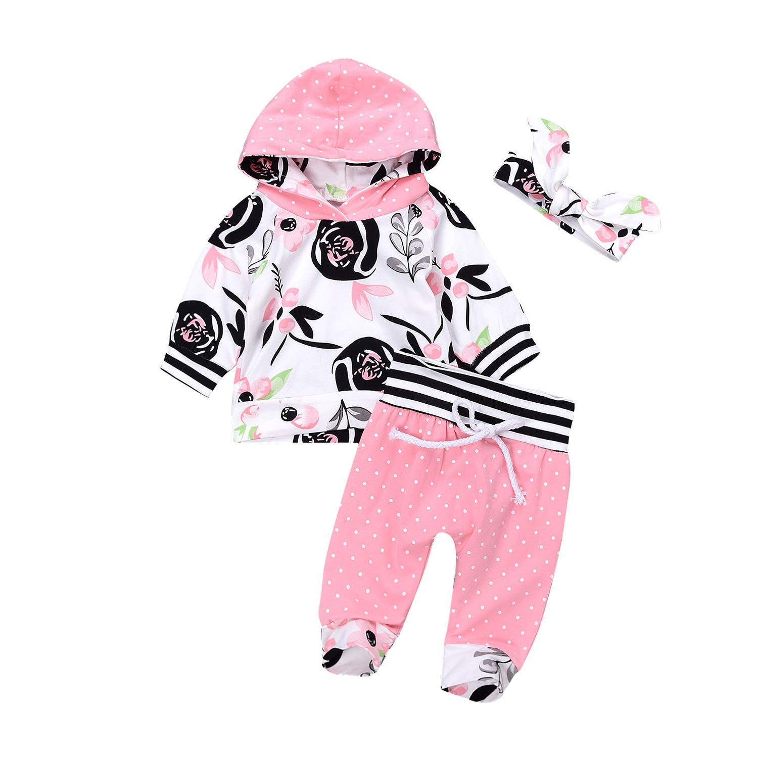 Floral Pant Set Leggings 2 Piece Outfits Askwind Baby Girls Floral Hoodie