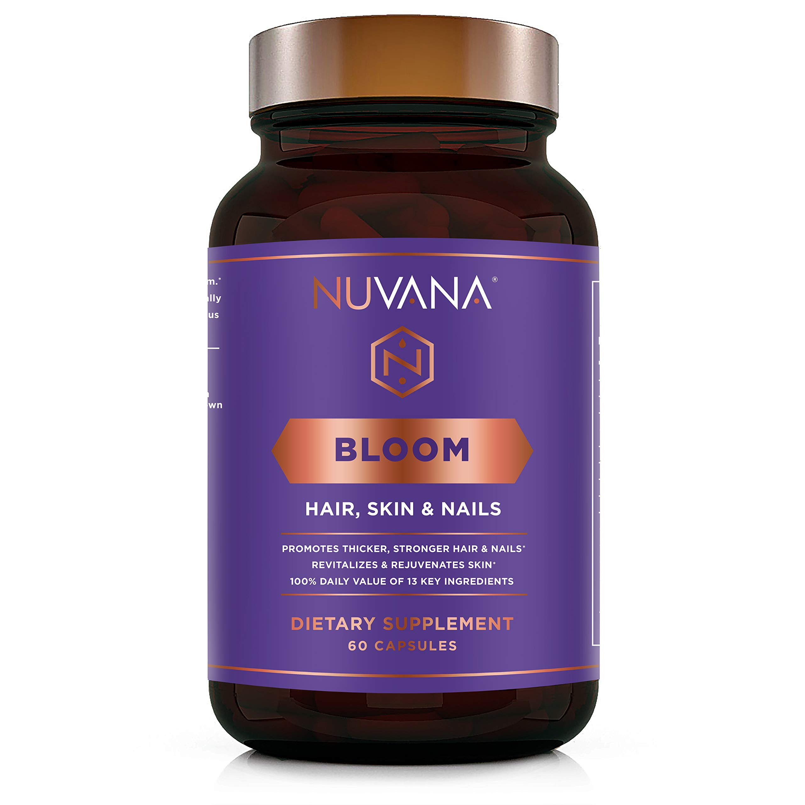 Bloom for Healthy Hair, Skin & Nails | Biotin, Hyaluronic Acid, MSM, Folate, B Complex Vitamins | Boosts Collagen Production | for Growth, Thickening, Strength for Men & Women | 60 Vegan Capsules