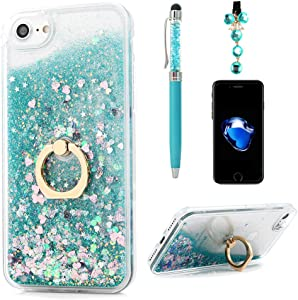 Badalink Phone Case for iPhone 7/8, iPhone 8 Case, iPhone 7 (4.7inch) Case, Flowing Liquid Floating Bling Glitter Kickstand Cover Shell PC Back 360 Rotating Ring Holder Shockproof Protection - Green