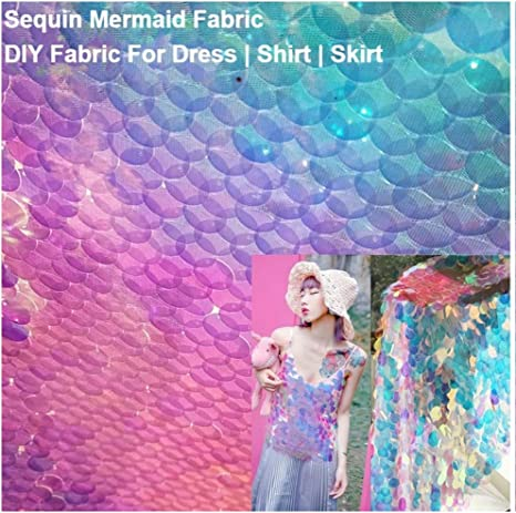 2Tone Reversible Shiny Scale Mermaid Sequin Fabric Wedding Party Decor 1.3m Wide