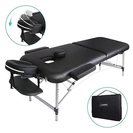 Naipo Massageliege Klappbar Massagetisch Massagebett Massagestuhl mit 2 Zonen höhenverstellbaren Aluminium-Füßen und Premium-
