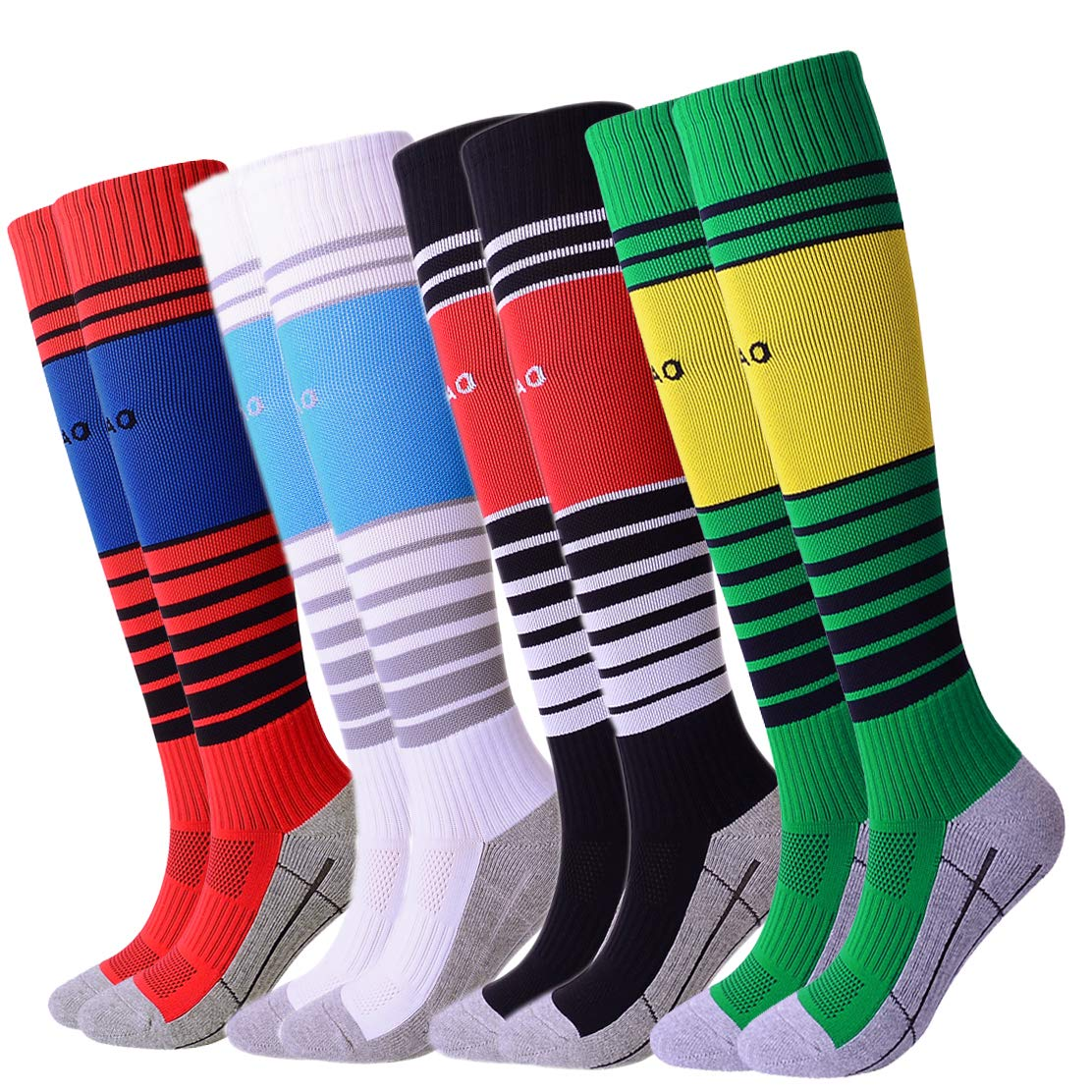 Youth Soccer Socks Teens Knee High Football Socks Long Striped Rugby Tube Socks 4 Pairs (Black/White/Green/Navy) B by Gupying