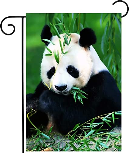 Shinesnow Animal Chinese Panda Bear Bamboo Green Forest Garden Yard Flag 12 X 18 Double Sided Polyester Welcome House Flag Banners For Patio Lawn Outdoor Home Decor Garden Outdoor