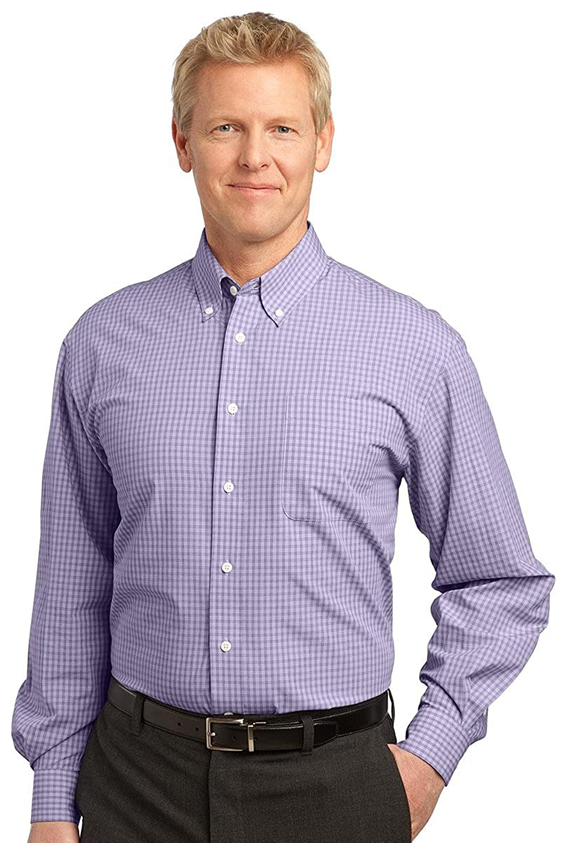 Charcoal Port Authority Mens Plaid Pattern Button-Down Shirt