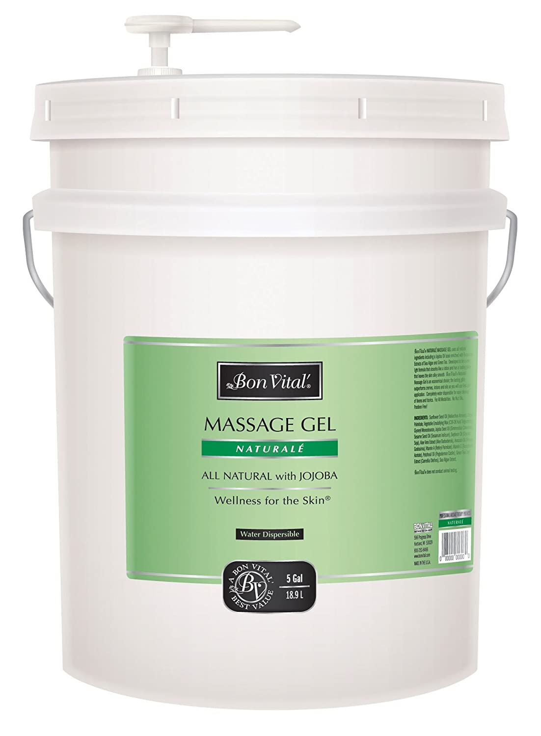 Bon Vital' Muscle Therapy Massage Gel Made with Dwarf Pine Oil and Essential Oils for a Relaxing Massage, Arthritis Pain Relief, and Sore Muscle Relief, Great for Use in Graston and IASTM, 1 Gallon Bon Vital' BVMTG1G