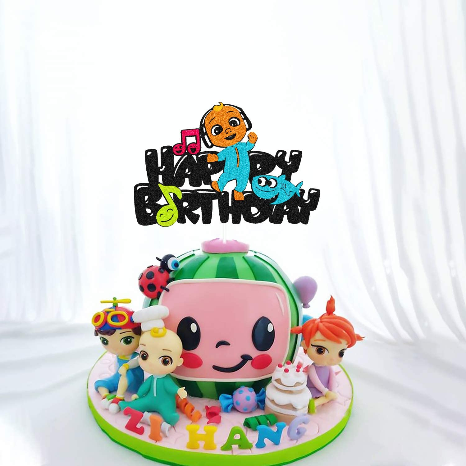 Double Sided Baby-JJ Cake Topper for Coco-melon Themed Birthday Cake Decorations Children Kids Boy Girl 1st 2nd 3rd Happy Birthday Baby Shower Party Supplies