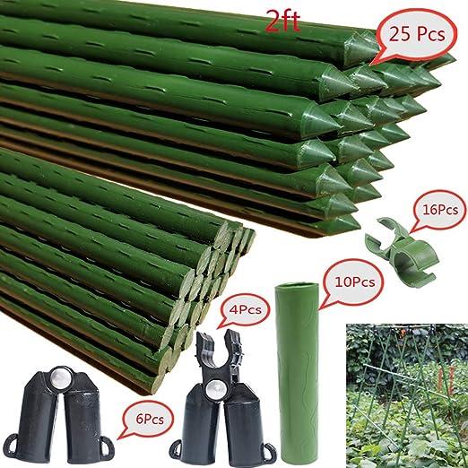 F.O.T Estacas de jardín de metal resistente, 24 unidades, soporte de jardinería de 1, 97 pies con revestimiento de plástico para plantas: Amazon.es: Jardín