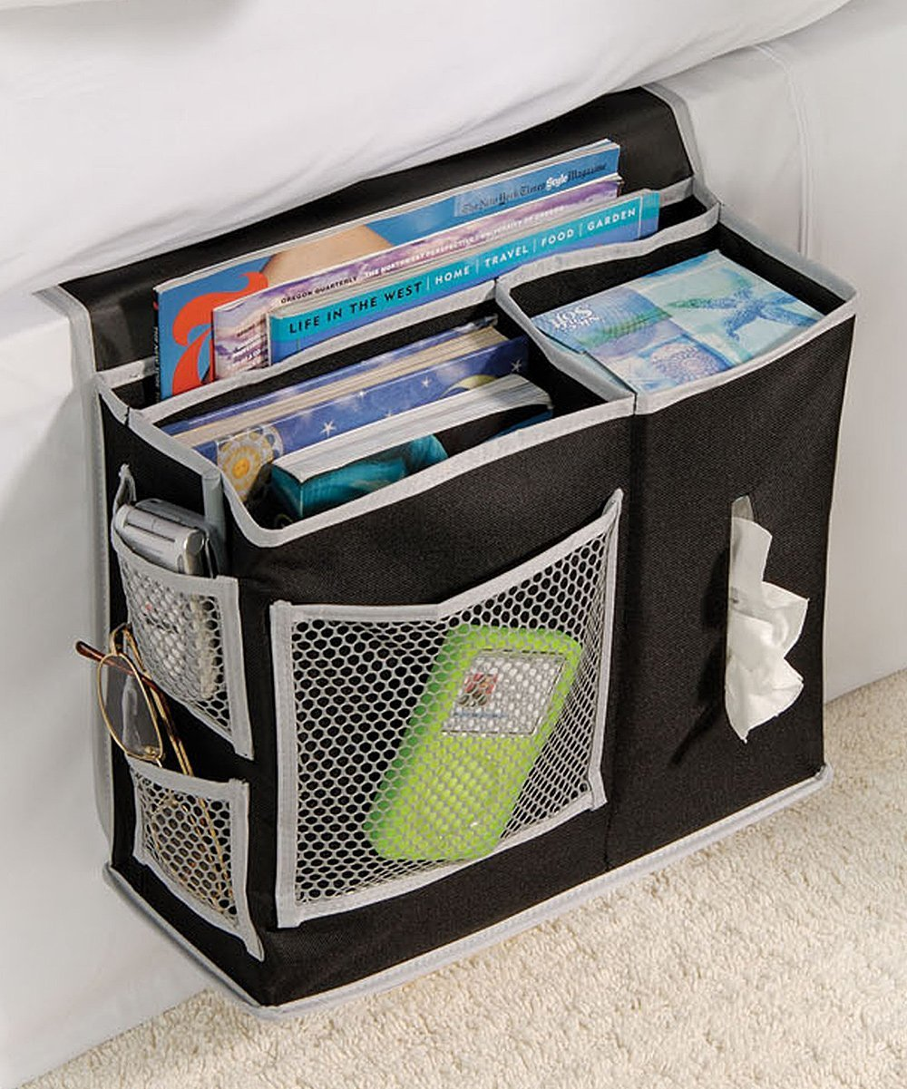 Bedside Storage Organizer - 6 Pocket Bedside Caddy Storage – For Dorm Rooms, Home, and Hospitals - Organizers for Books, Phones, Tablets, Accessories, TV Remote and More Hold N Storage