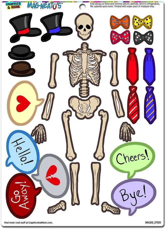 Human Skeleton Dress-Up - Bones Anatomy Halloween Hats Ties Funny Novelty Gift Paper Doll Locker Refrigerator Vinyl Magnet Set