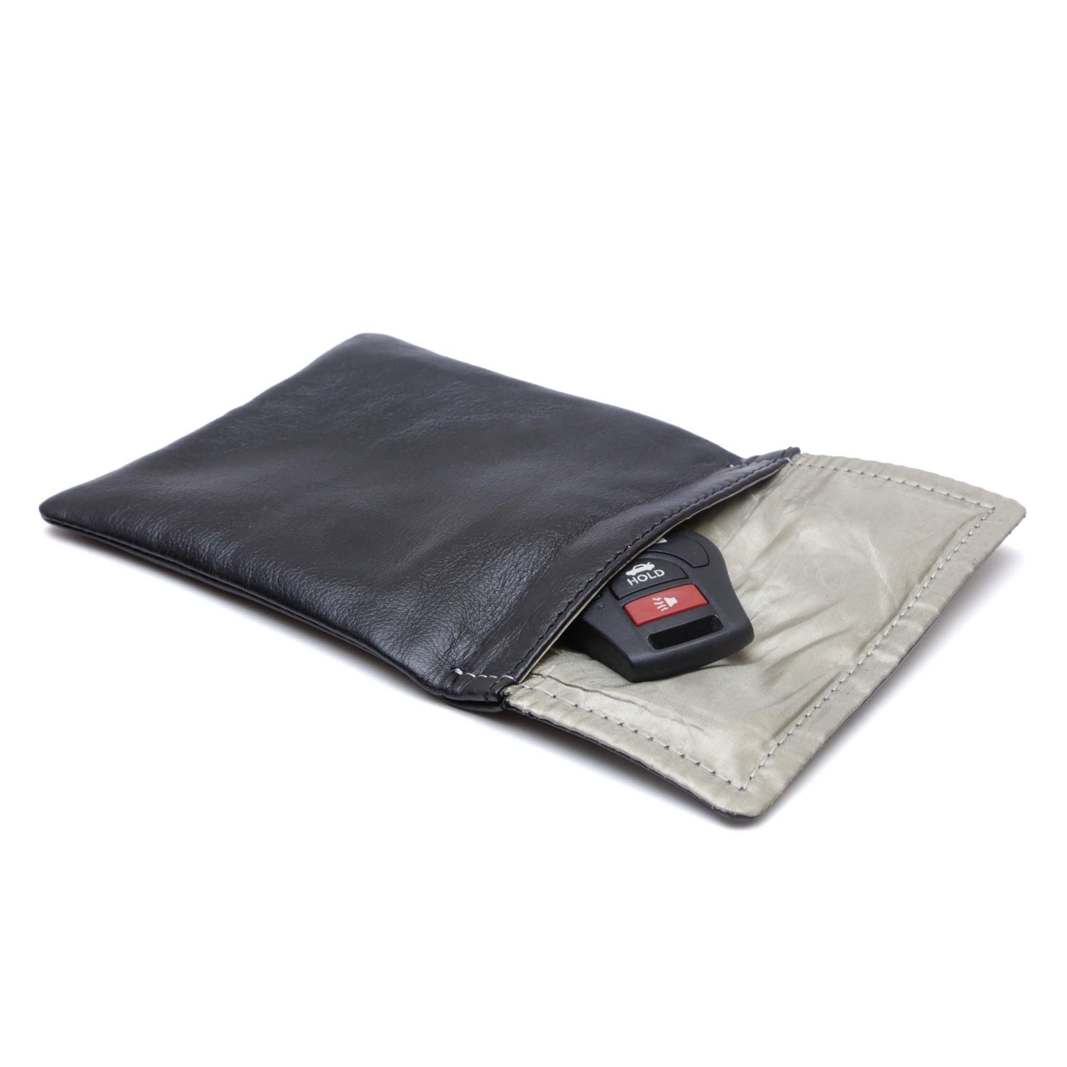 RFID Blocking Real Leather Key Fob Pocket - RFID Blocking Holder Anti-Hacking Security Bag for Car Key Fob - Signal Blocking (Black)
