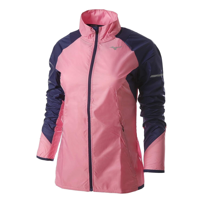 Mizuno Damen Aero Windtop Laufbekleidung Longsleeve Dunkelblau - Rosa S
