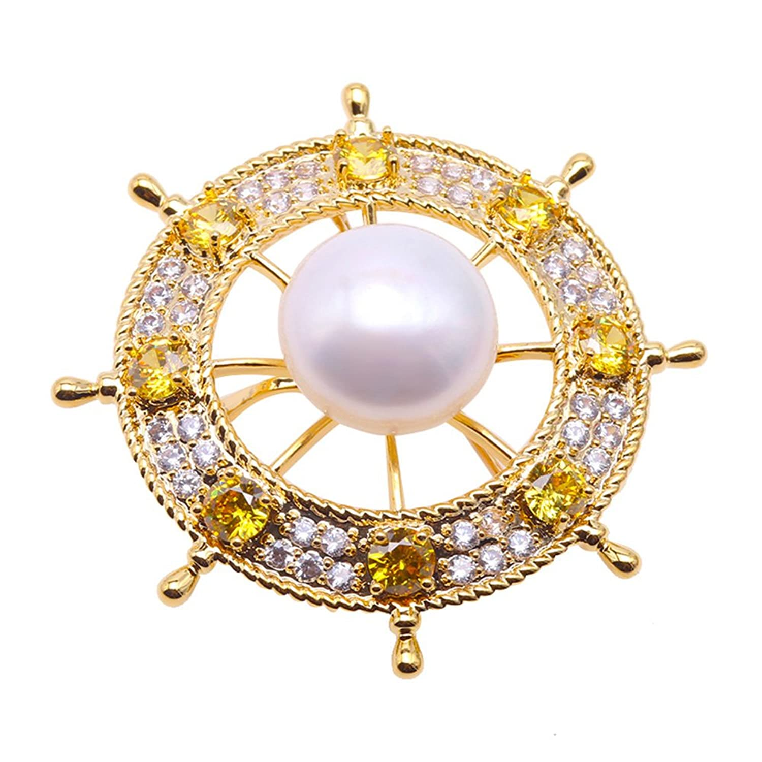 Fine Rudder-style White Freshwater Pearl Brooches Pins Golden-tone