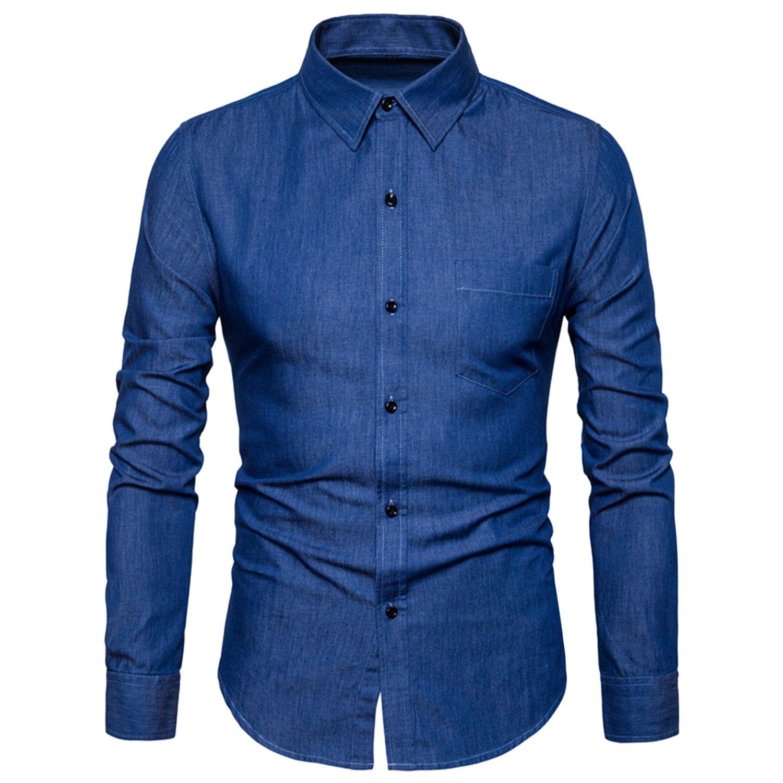 semen Herren Businesshemd Langarm Freizeithemd Bügelleicht Stil Regular Fit  Kentkragen Herrenhemd Anzug Hochzeit Konferenz Blau Schwarz  Amazon.de  ... aae9bd6351