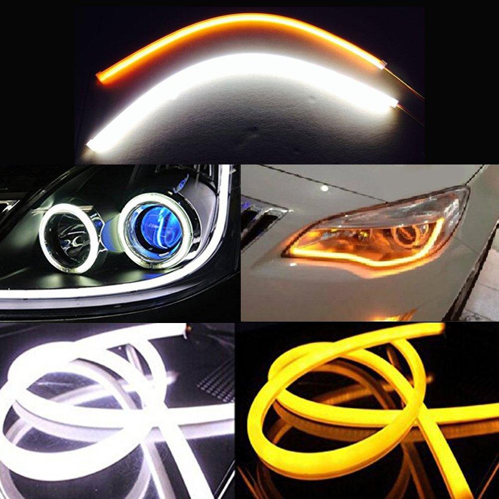 Inlink 2-Pack Dual Color Flexible White-Amber Switchback Headlight LED Soft Tube Switchback DRL Daytime Running Turn Signal Strip Light(60cm)