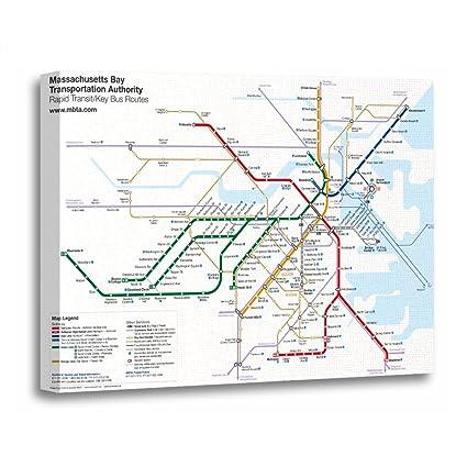 Subway Map Art Boston.Torass Canvas Wall Art Print Map Boston Rapid Transit With Key Bus Subway Artwork For Home Decor 12 X 16