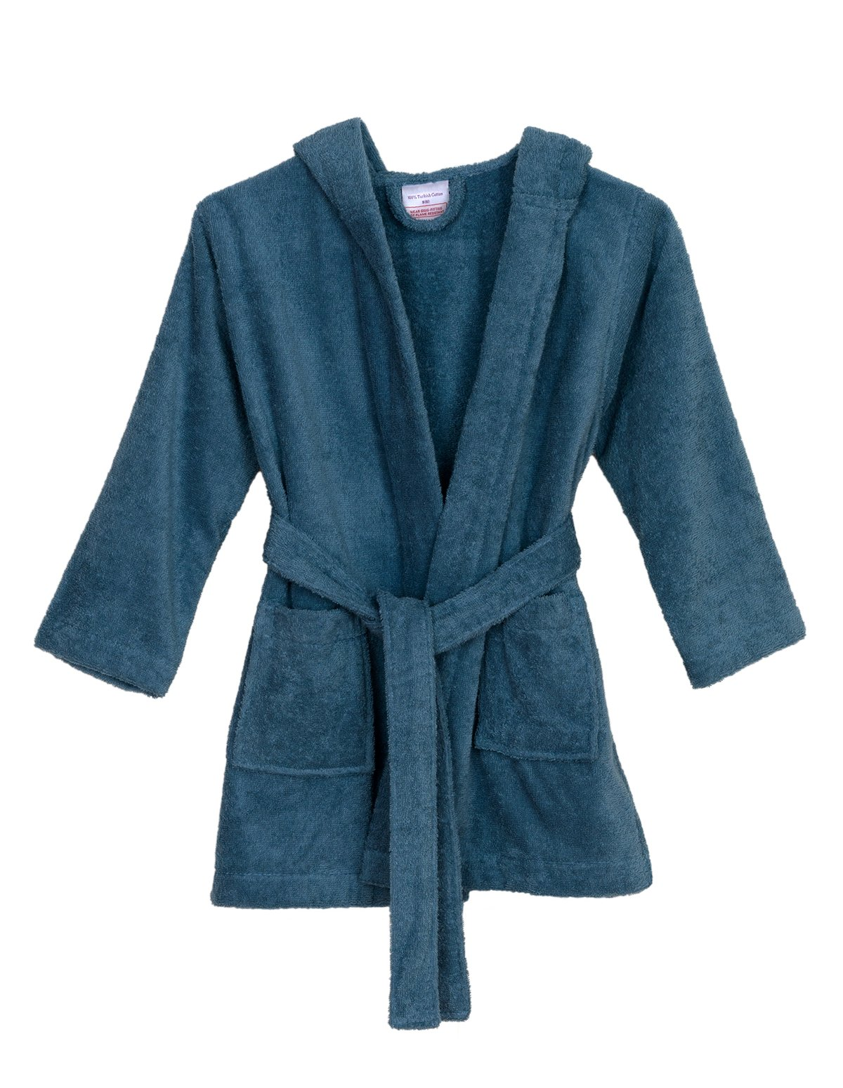 TowelSelections Big Boys' Robe, Kids Hooded Cotton Terry Bathrobe Cover-up Size 12 Blue Heaven