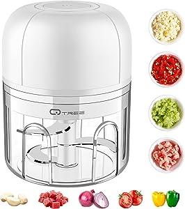 Electric Mini Garlic Chopper, Qtree Portable Wireless Food Processor, Mini Kitchen Food Chopper, Garlic Masher Mincer Crusher, Small Food Grinder for Chop Onion Meat Nut Veggie Baby Food (45W 250ml)