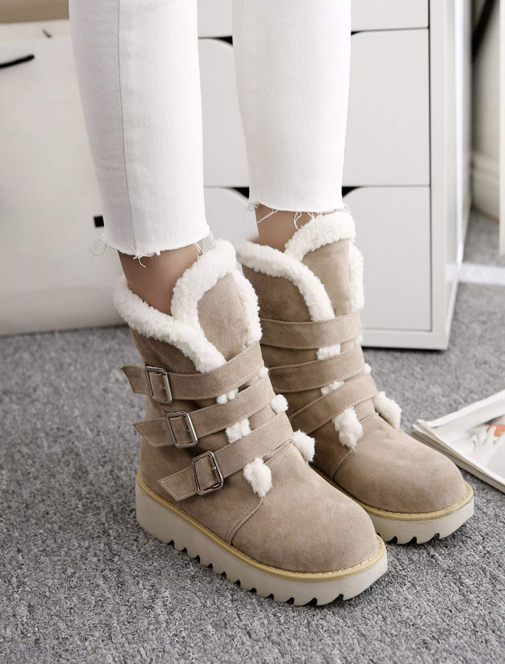 Respctful ♪☆ Women's Fashion Maiden Snow Boot Round Toe Booties Solid Flat Boots Warm Ankle Boots for Winter by Respctful (Image #4)