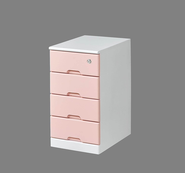 「アウトレット」鍵付チェスト 4段 (ピンク&ホワイト) B01N7NNCD6  ピンク&ホワイト