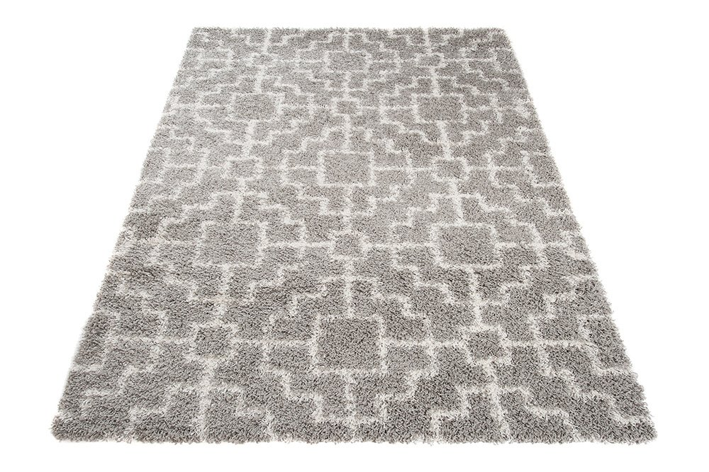 Size 60 x 100 cm Rio Collection Tapiso Shaggy Area Rugs For Living Room Bedroom 2ft x 3ft3 Cream White Grey Contemporary Geometric Fluffy Durable Carpet Modern Design
