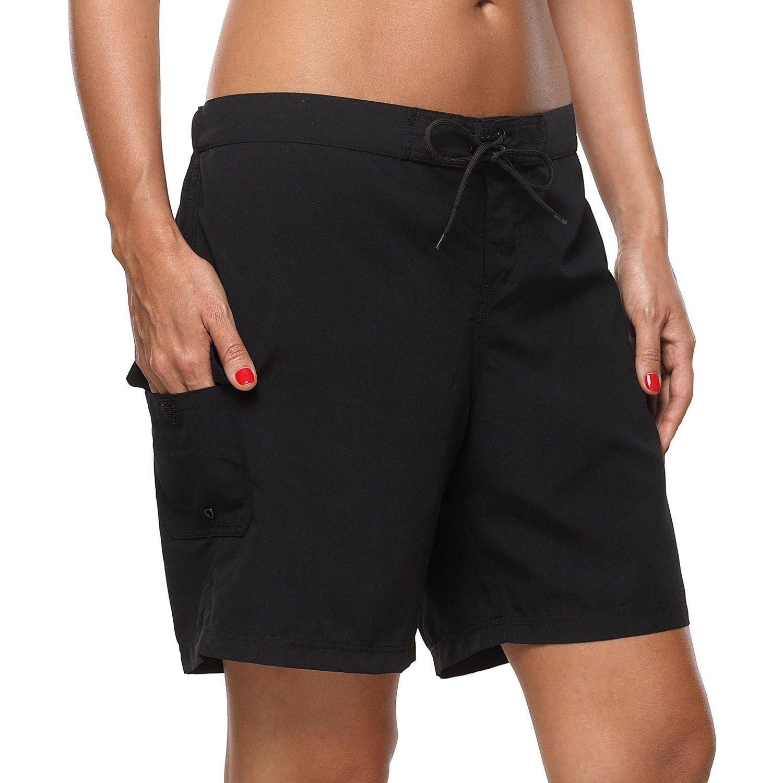 Vegatos Ladies Long Board Shorts Solid Swimming Bottoms Beach Swim Shorts Black