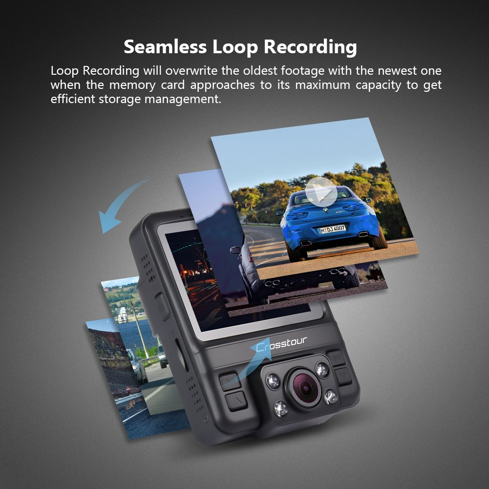 Uber Dual Lens Dash Cam Built-in GPS in Car Dashboard Camera Crosstour 1080P Front and 720P Inside with Parking Monitoring, Infrared Night Vision, Motion Detection, G-Sensor and WDR by Crosstour (Image #7)
