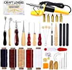 34 Pcs Leather Working Kit, Leather Crafting Tools and Supplies, Leather