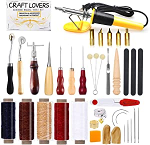34 Pcs Leather Working Kit, Leather Crafting Tools and Supplies, Leather Starter Kit with Leather Burning Tool, Waxed Thread Cord, Leather Sewing Needles, Leather Stitching Kit for Beginner