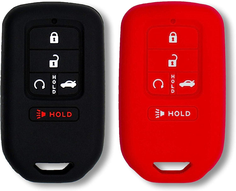 Autobase Silicone Key Fob Cover for 2019 2018 2017 2016 2015 Honda Accord Civic CR-V CRV Pilot Passport Insight EX EX-L Touring   Car Accessory   Key Protection Case 2 Pcs (Black