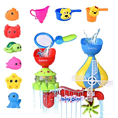 11 PCs Toddler Bath Toys, Windmill Waterfall Water Station with Sea Animals Squirter Toys, Stackable Cups and Fishing Net: Toys & Games