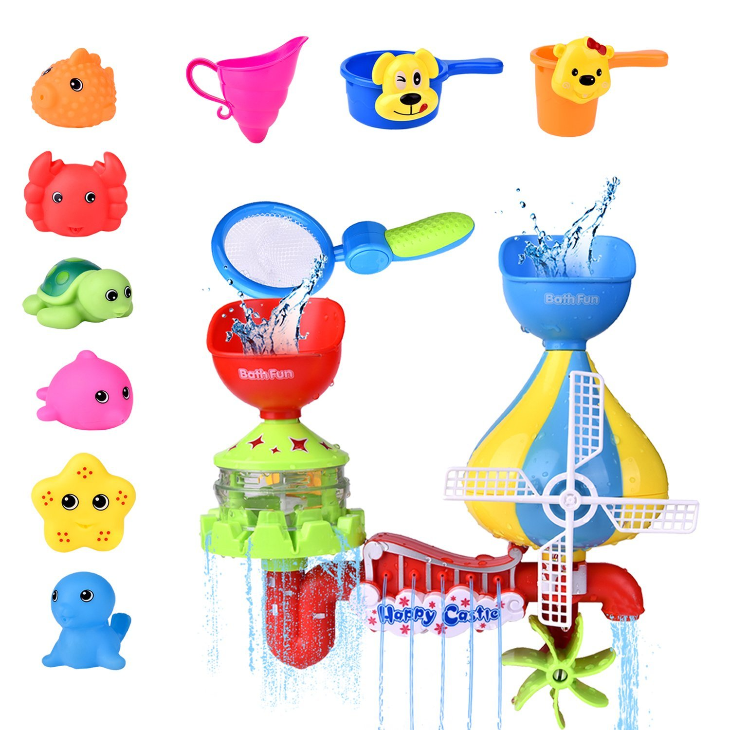 11 PCs Toddler Bath Toys, Windmill Waterfall Water Station with Sea Animals Squirter Toys, Stackable Cups and Fishing Net