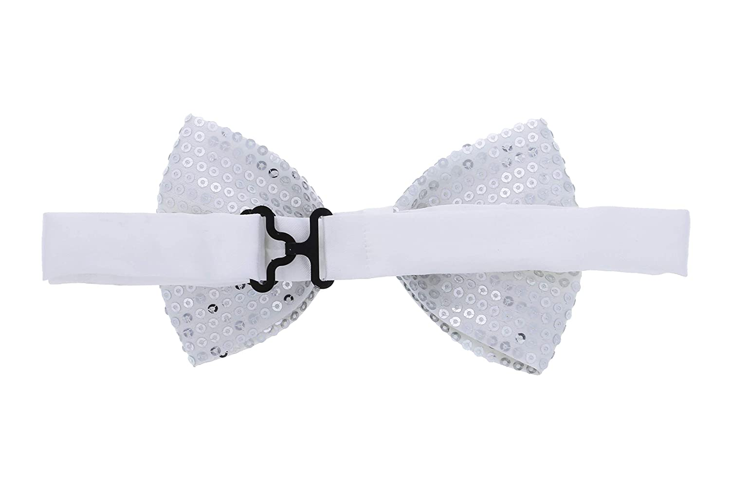 Mozlly Glamorous White Sequin Bow Ties Adjustable Classic Bow Tie