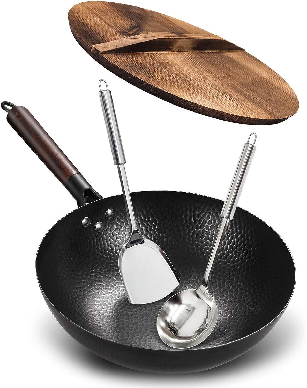 Anyfish Carbon Steel Wok Pan - 12.5