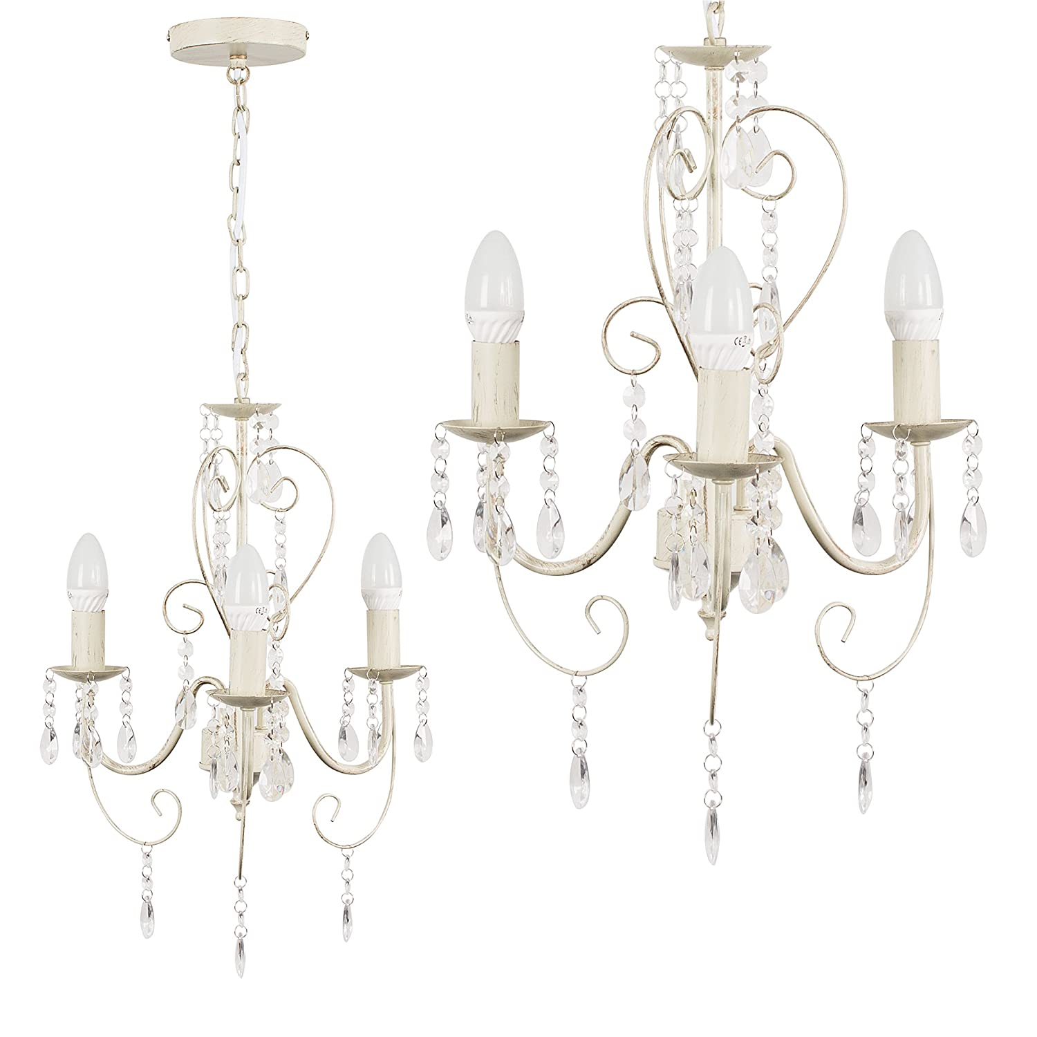 Grey Ornate Vintage Style Shabby Chic 3 Way Ceiling Light Chandelier With Beautiful Acrylic Jewels MiniSun