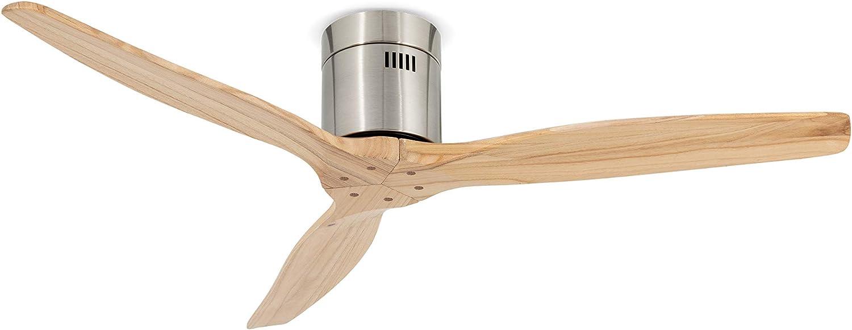 IKOHS AIRCALM DC - Ventilador de Techo con Mando, Bajo Consumo, Silencioso, Potente, 3 Aspas, 132 cm de Diámetro, 6 Velocidades, Temporizador, Aspas de Madera, 40W (Madera Natural)