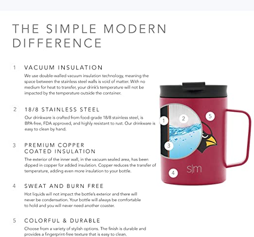 Simple Modern Licensed Miami Dolphins 12oz Scout Coffee Mug Gifts for Men Fathers Women Youth Stainless Steel Vacuum Insulated Football Sports Fan Coffee Mug Merchandise Gear