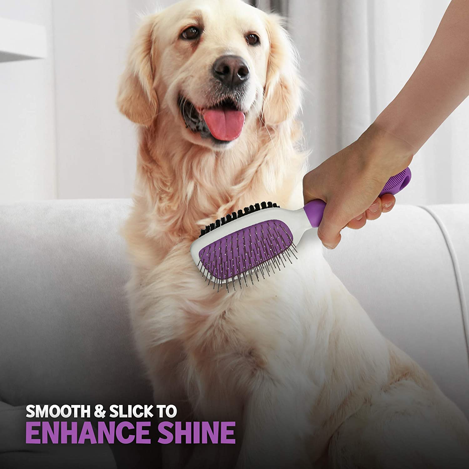 eecoo Dog Cat Brush Double‑Sided Pet Grooming Comb for Pet Grooming Dematting Brush Dog Massage Brush for Removes Shedding Mats and Tangled Hair