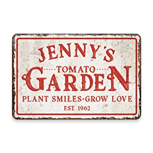 Personalized Vintage Distressed Look Tomato Garden Metal Room Sign