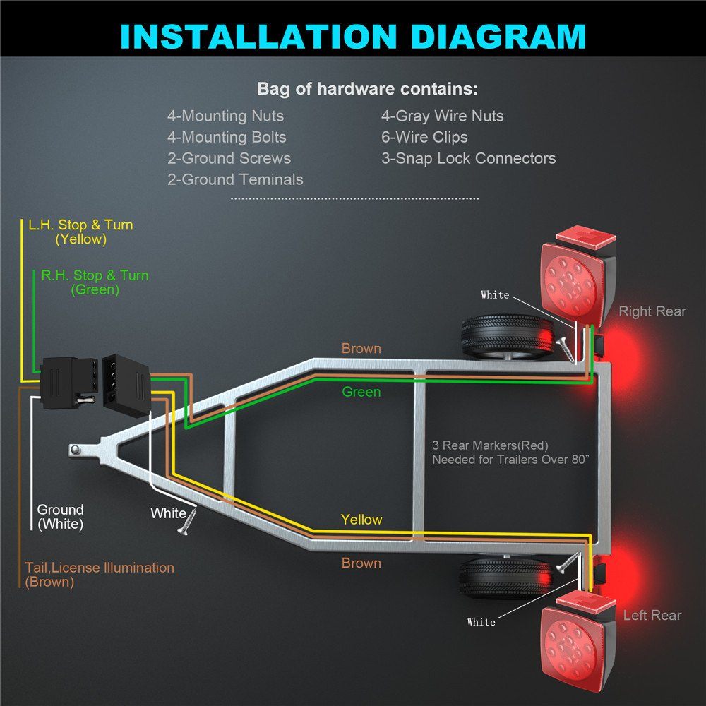 Bluefire 12v Led Boat Trailer Tail Light Kit Ip68 Waterproof Wiring Diagram Submersible Lamp Running Stop Turn